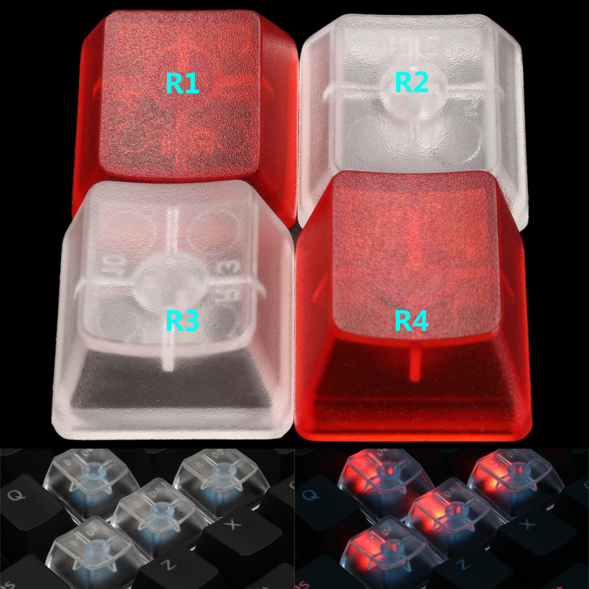 5PCs Transparent Keycap Clear All Height Red White for Mechanical Keyboard R1 R2 R3 R4