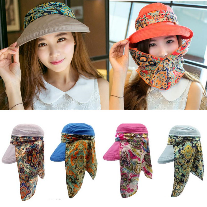Women Ladies Polyester Sunshade Hat Face Neck Protective Fishing Outdoor Gradening Cap