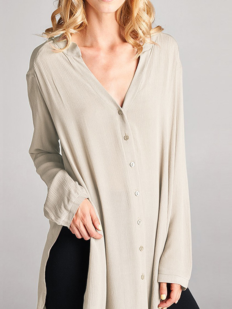 Women Brief V-neck Long Sleeves Cotton Long Blouse