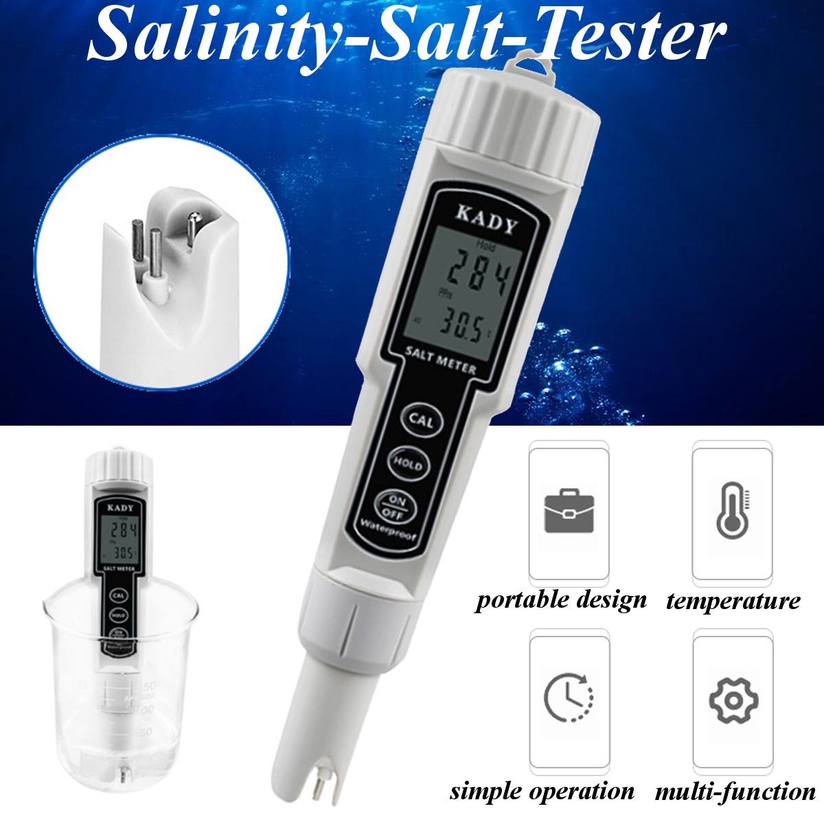 Salinity Salt Water Quality Tester Meter Checker Hydroponics Temperature Salinity Testing Tools