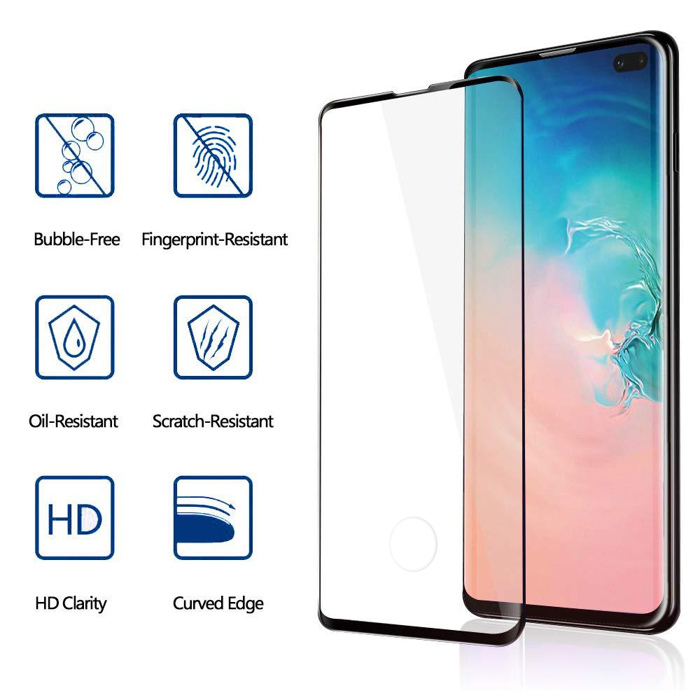 BAKEEY Ultrasonic Fingerprint Unlock 3D Curved Edge Full Glue Tempered Glass Screen Protector for Samsung Galaxy S10 Plus 6.4