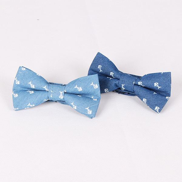 Men Retro Denim Cotton Business Party Bowknot Tie