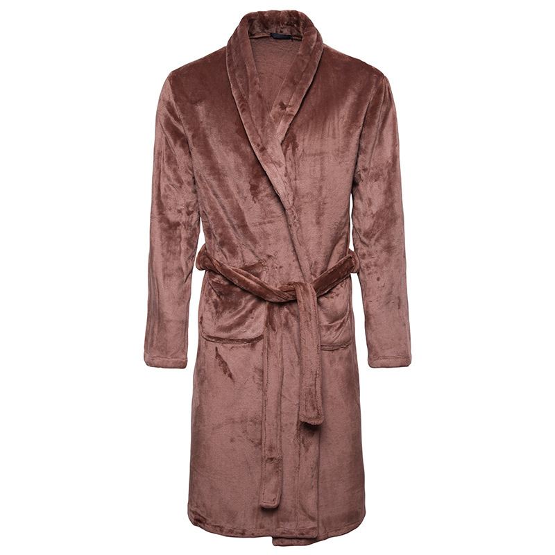 Thick Warm Coral Velvet Casual Home Long Nightgown Bath Robe