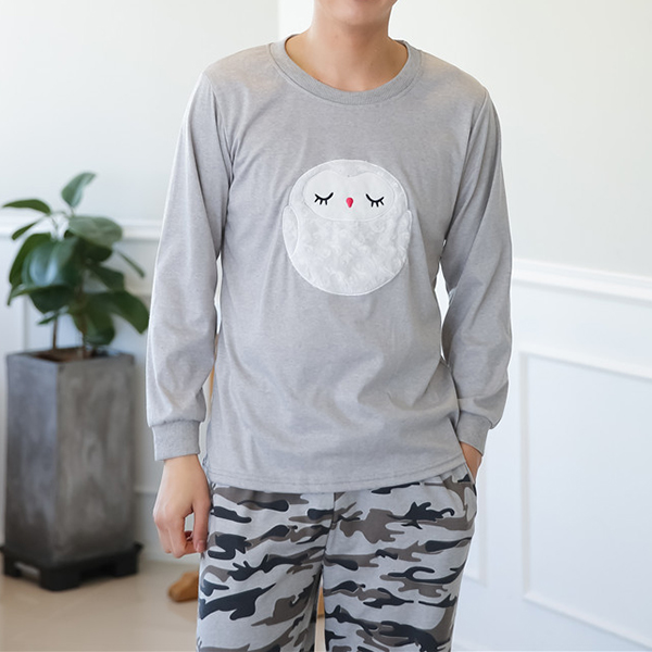 Owl Pattern Round Collar Pajamas Set