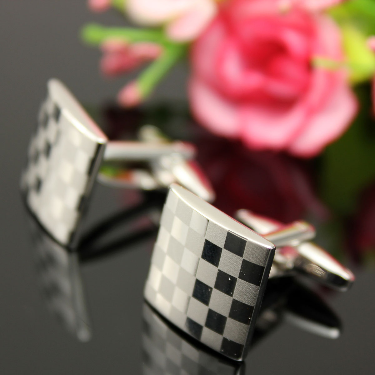 Men Cuff Links Stainless Steel Silver Square Lattice Wedding Party Gift Grid Accessories