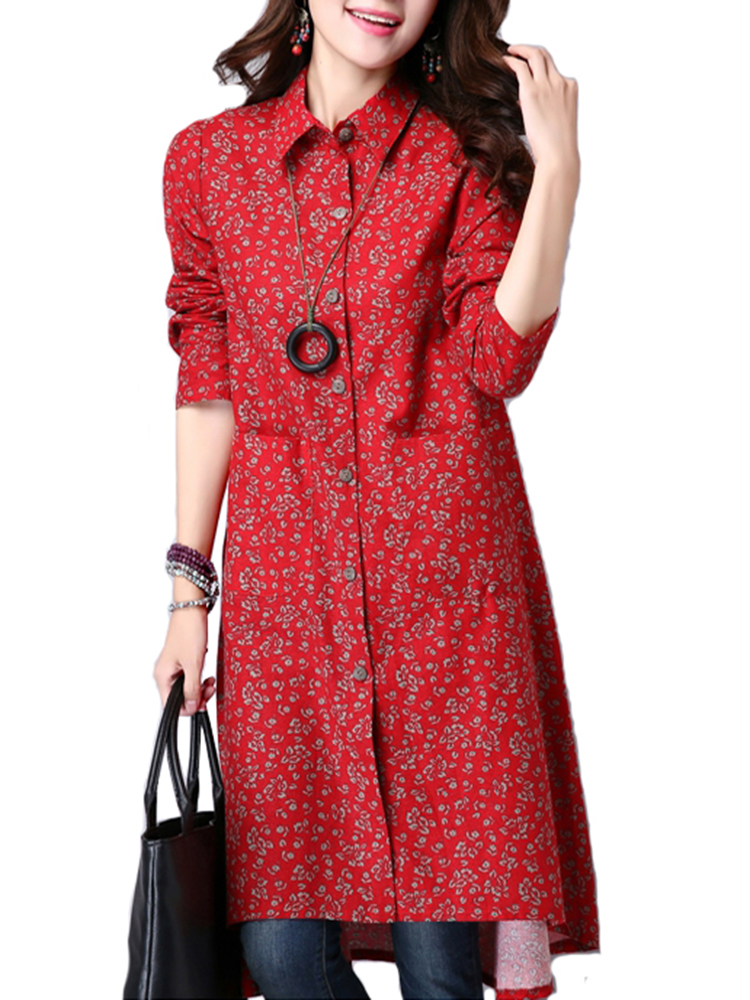 Folk Style Women Lapel Long Sleeve Button Floral Print Irregular Dress