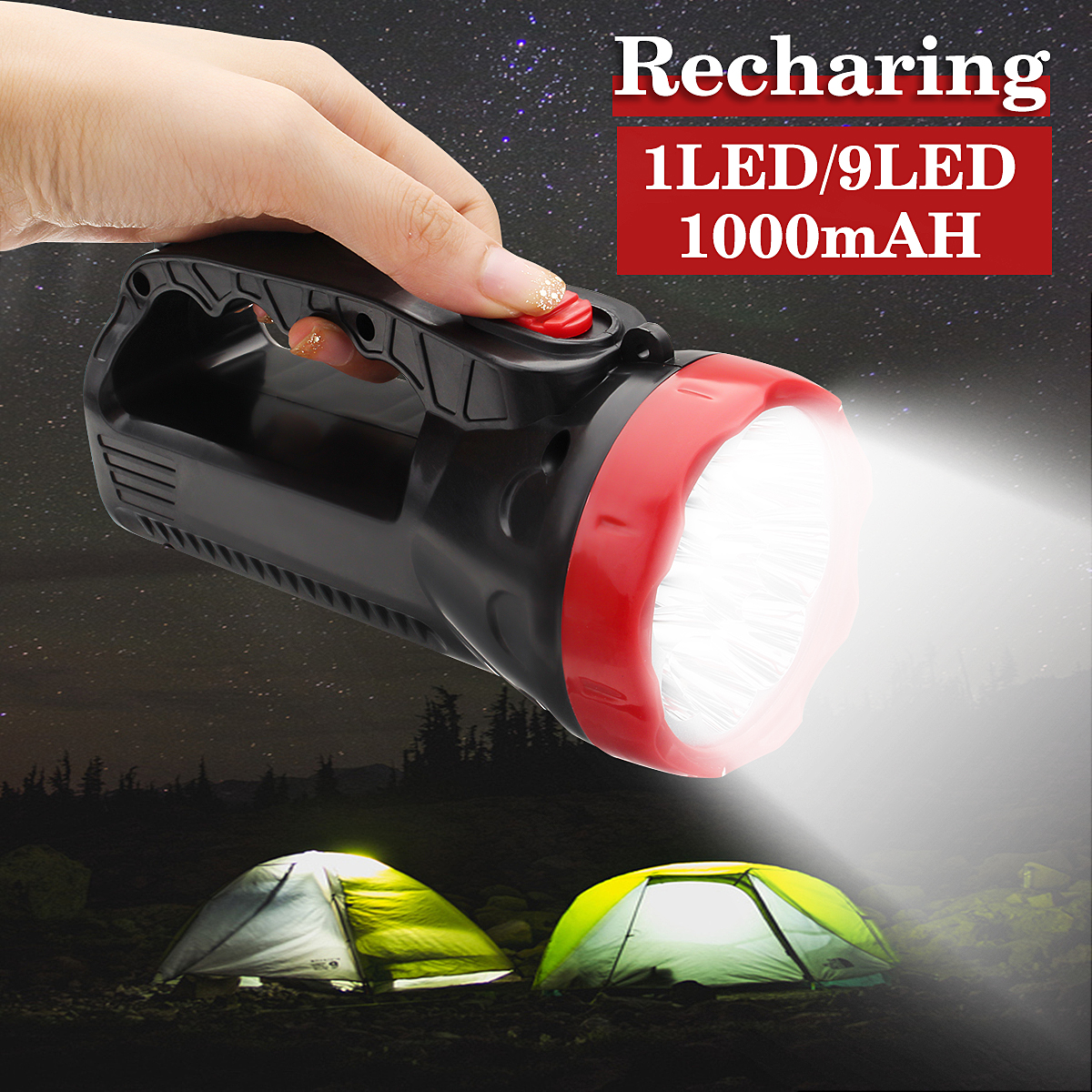 5W 1000mAh LED Outdoor Portable Super Bright Torch Flashlight Lamp Rechargeable Camping Lantern