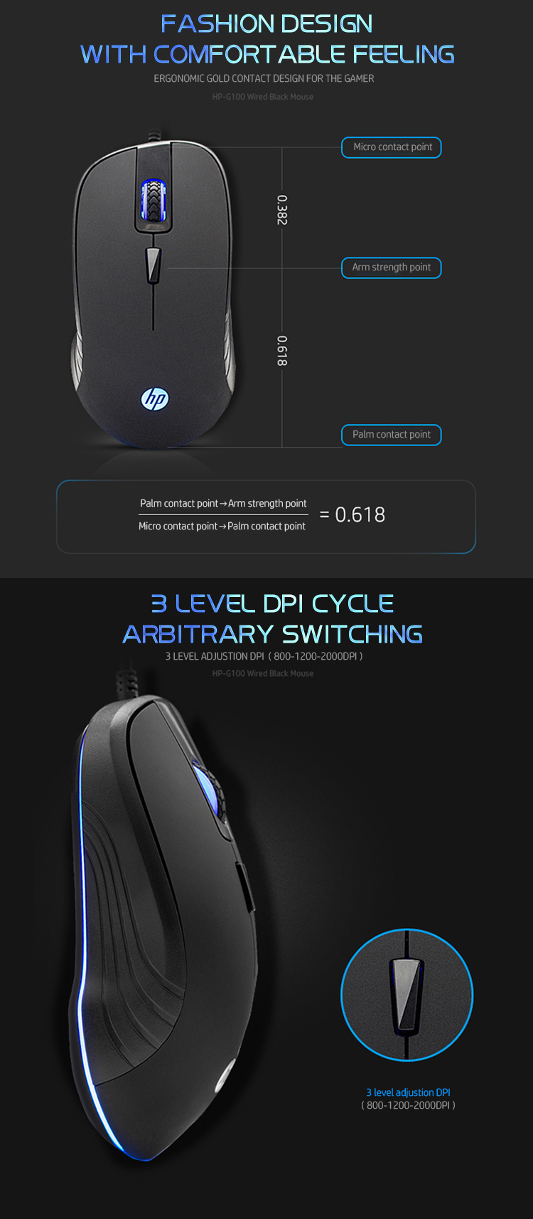 HP® G100 2000DPI USB Wired Blue Backlight E-Sports Optical Gaming Mouse