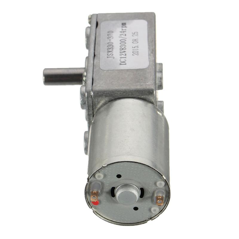 12V 24RPM Square Speed Gear Box Worm Geared DC Motor High Torque 370 Motor