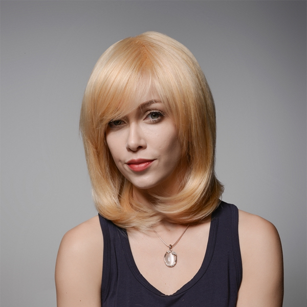 Human Hair Medium Wigs Virgin Remy Mono Top Capless Side Bang Golden Blonde Wig 8 Colors