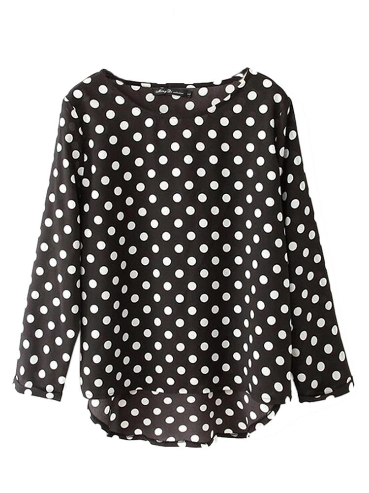 Plus Size Casual Polka Dot Chiffon Loose Blouse For Women