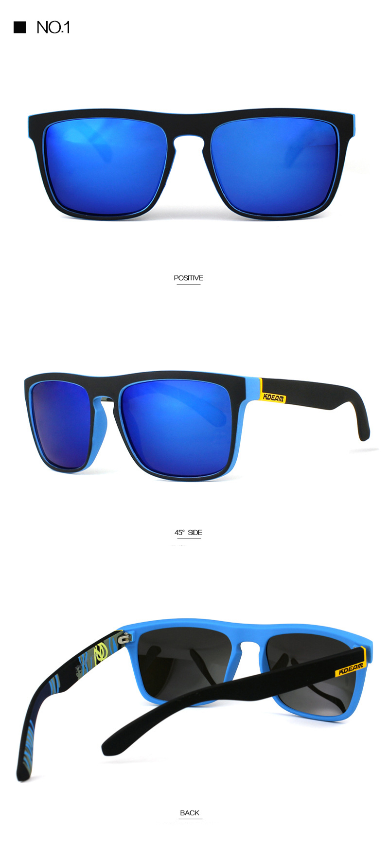 KDEAM KD156 UV400 Outdoor Sports Polarized Sunglasses Colorful Driving Sunglasses Cycling Glasses