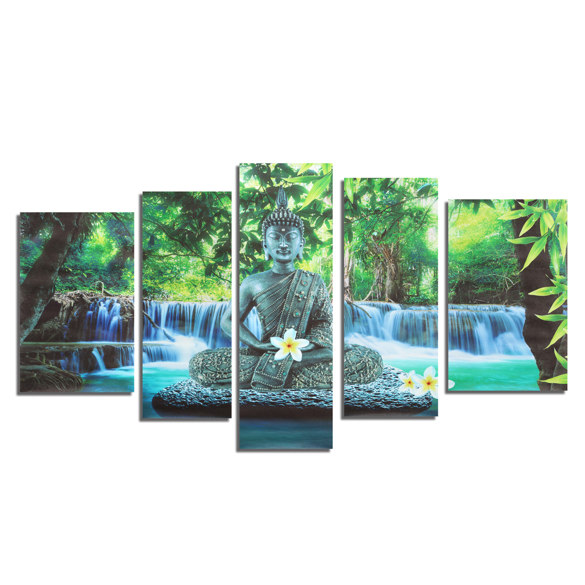 5PCS Buddha Frameless Canvas Print Mural Painting Wall Picture Home Decoration