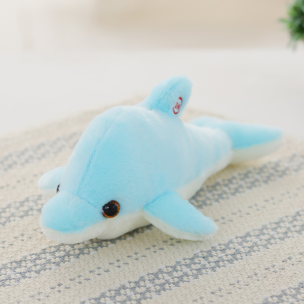 32cm Luminous Plush Dolphin Doll Glowing LED Light Animal Toys Soft Colorful Doll Pillow