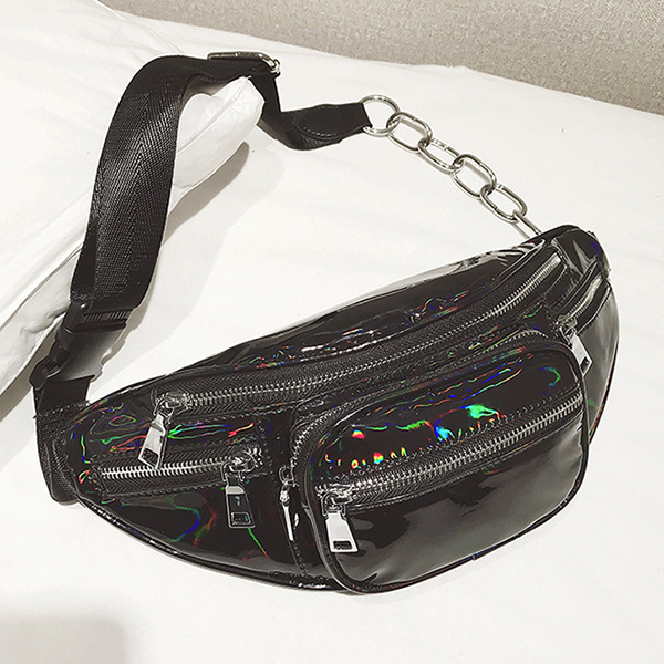 Women Creative Laser Silver Waist Bag