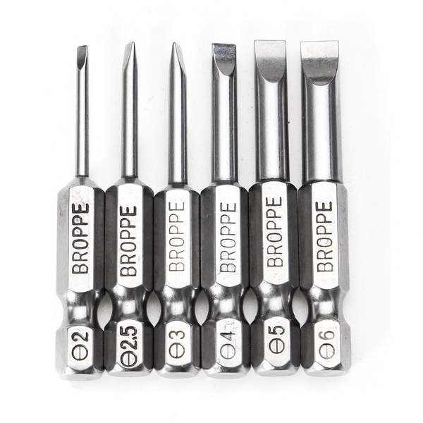 BROPPE 6Pcs 50mm Magnetic 2.0-6.0mm Flat Head Slotted Tip Screwdrivers Bits