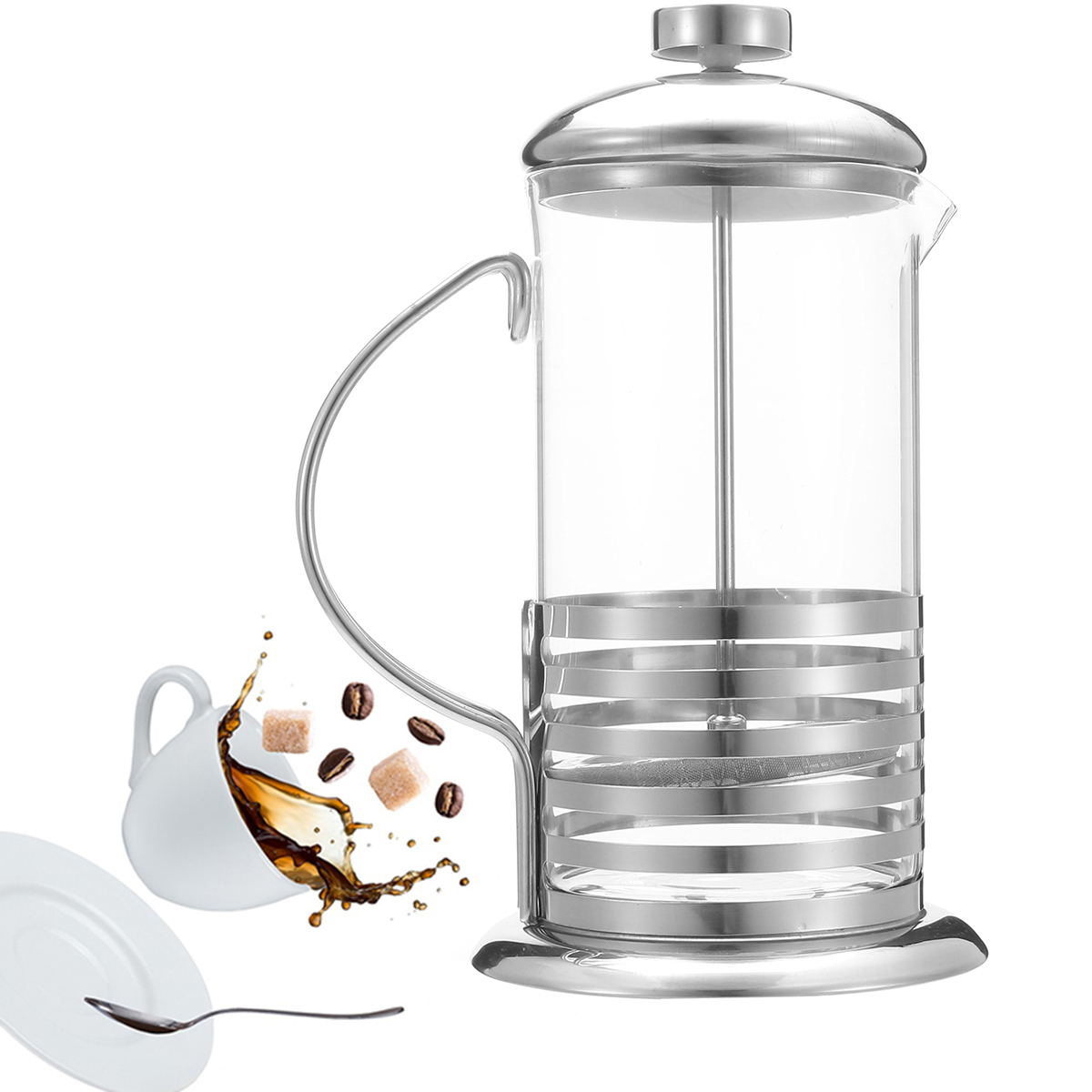 600/800ml Stainless Steel French Press Coffee Cup Tea M