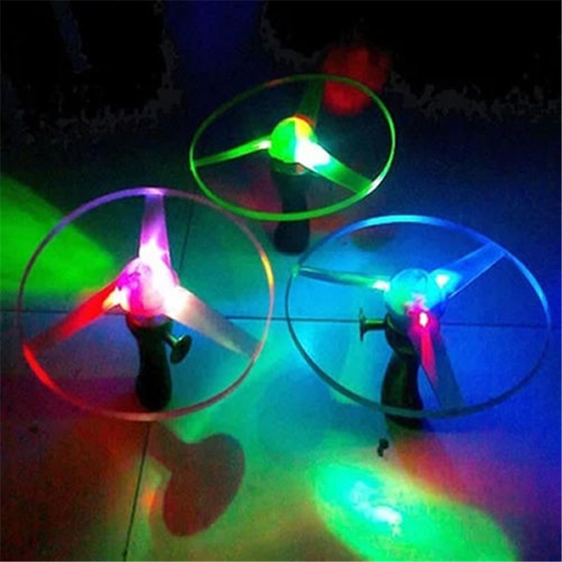 Boomerangs Flying Saucer Helicopter UFO Spin LED Light Outdoor Novelties Toys