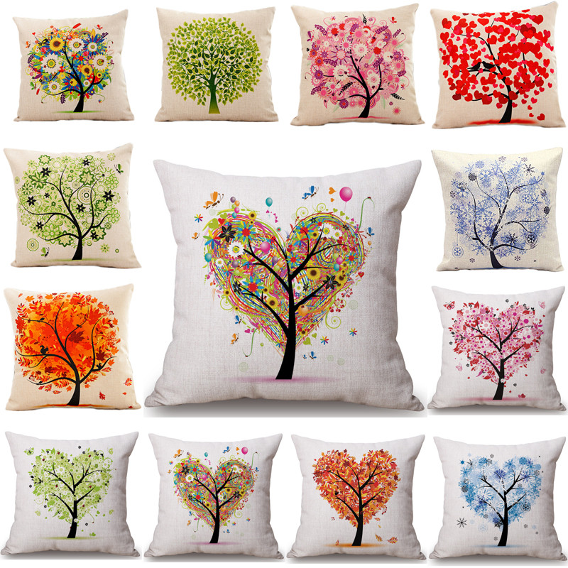 45x45cm Tree Decorative And Homing Season Life Cotton Linen Bright Colorful Pillowcase