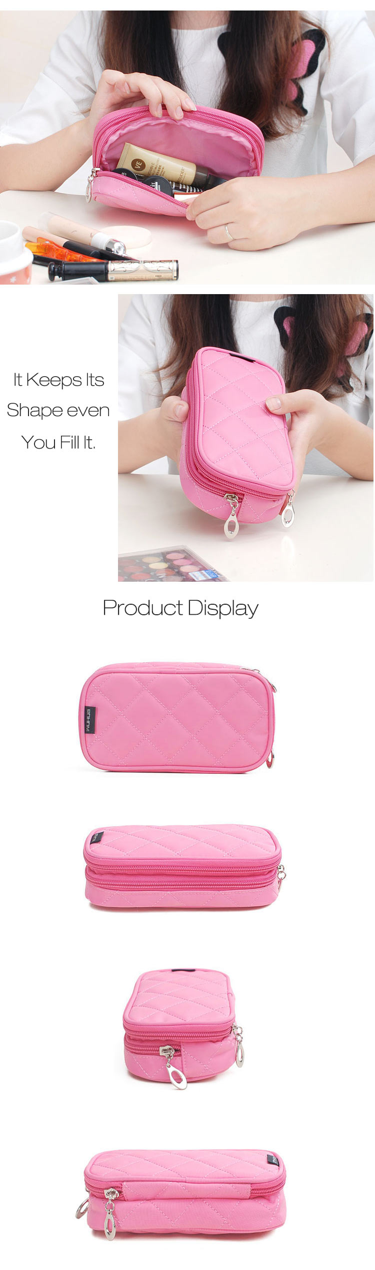 Honana HN-B56 Portable 2 Layers Travel Storage Bag Colorful Cosmetic Makeup Organizer Toiletry Storage Bag