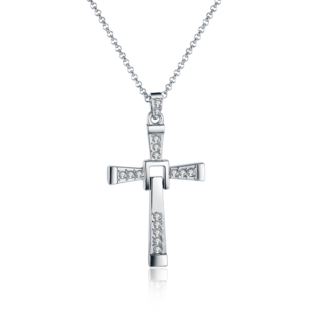 men cross pendant chain long necklace crystal alloy title=men cross pendant chain long necklace crystal alloy