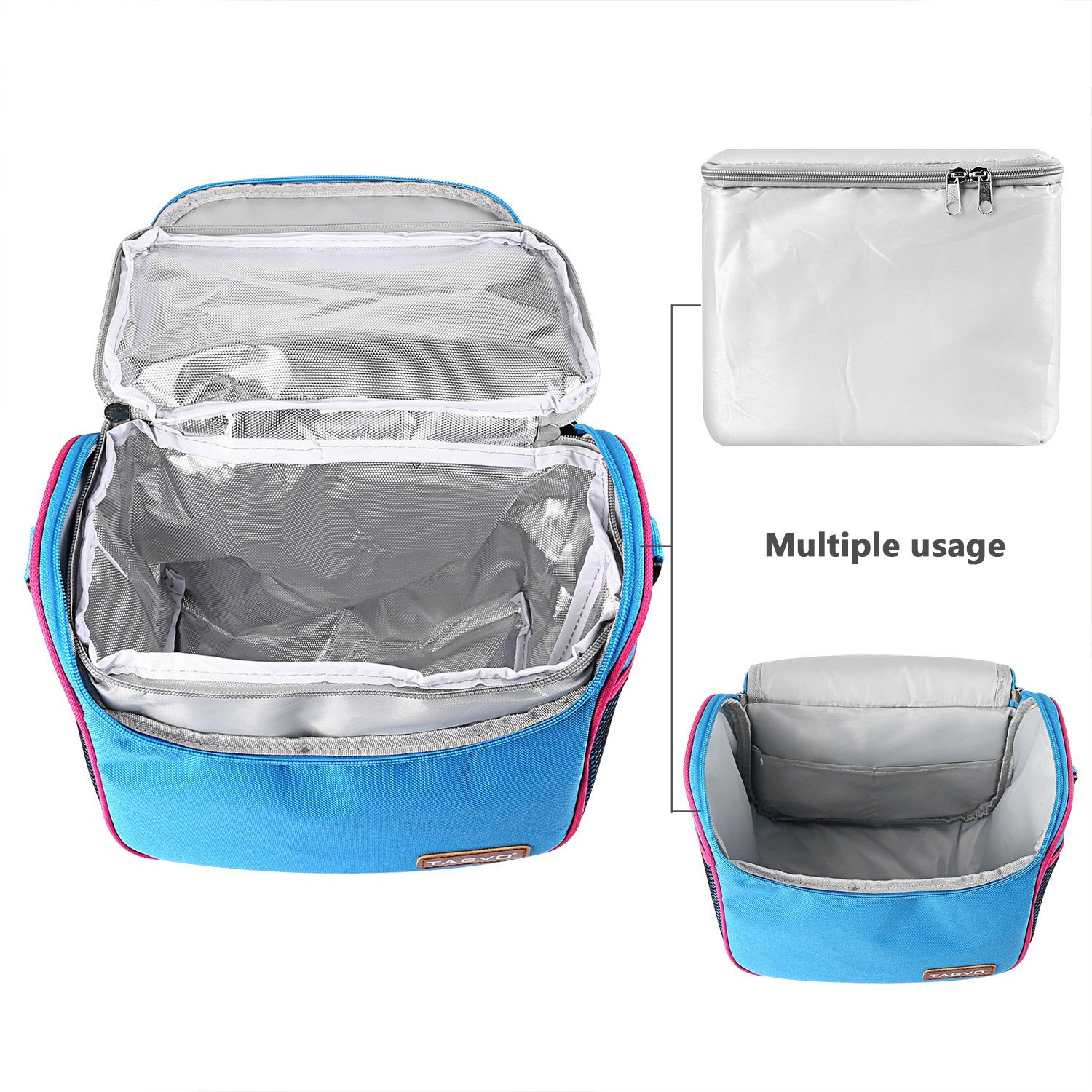 Honana CF-LB060 Woman Lady Waterproof Insulated Cooler Lunch Tote Bag With 2 Detachable Liners Baby Milk Storage Container