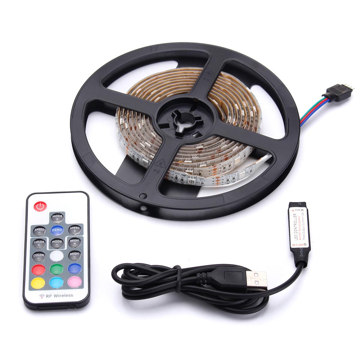 DC5V USB RGB 5050 Waterproof 17 Keys Remote Control LED Strip TV Back Lighting Kit