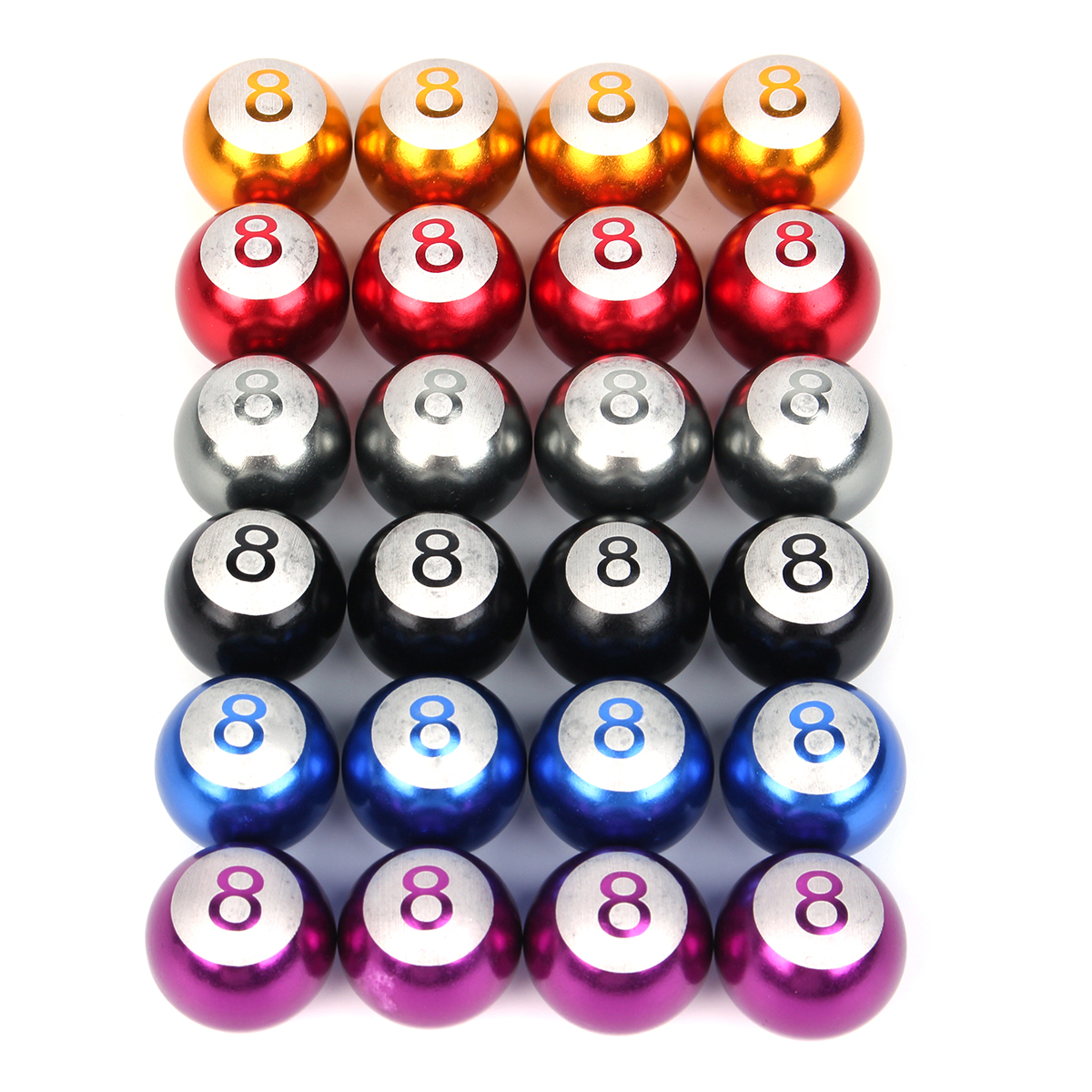 4Pcs Universal Wheel Tire Valve Caps Cover No.8 Billiards Ball Multi Color