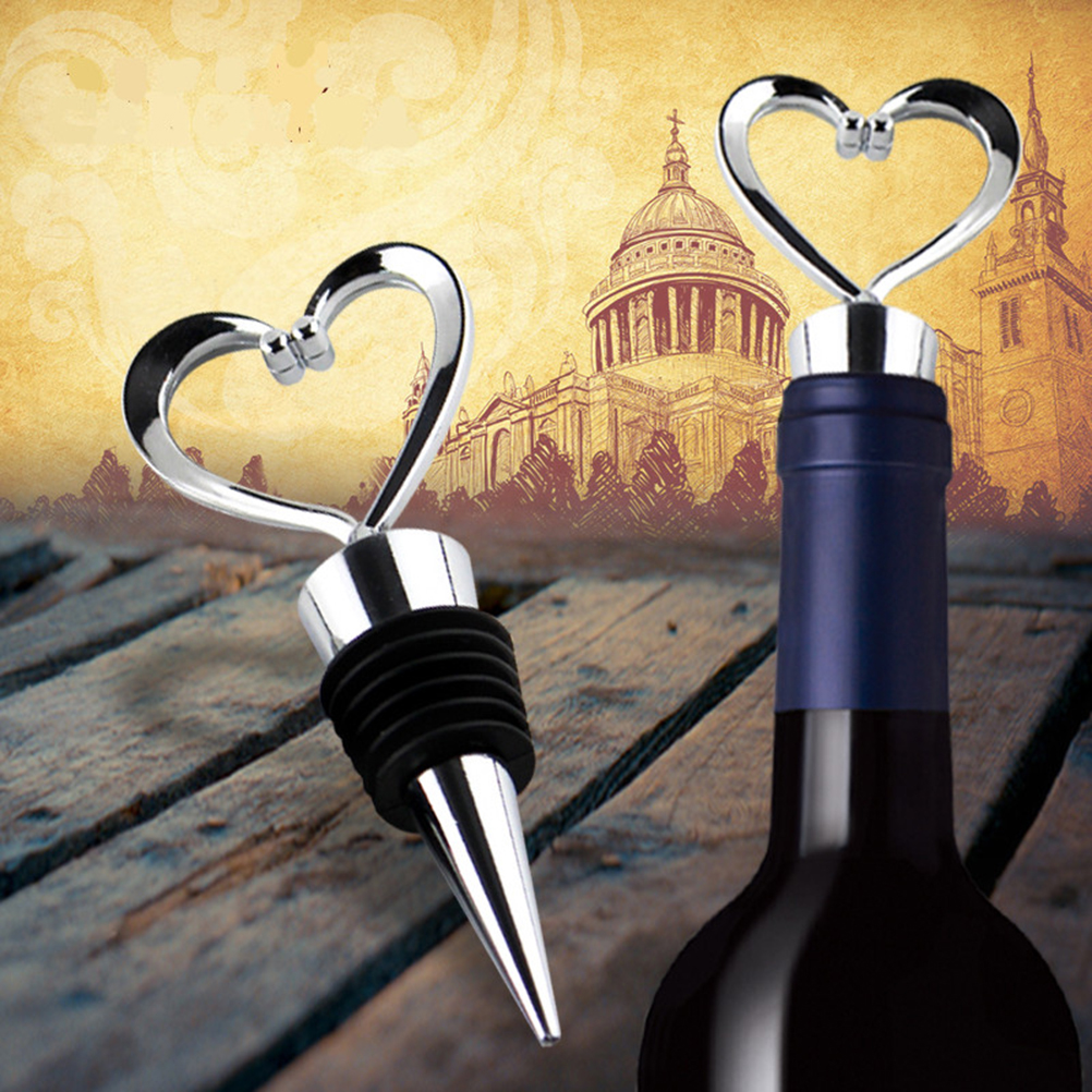 KCASA KC-SP103 Stainless Steel Love Design Heart Shape Wine and Beverage Bottle Stoppers