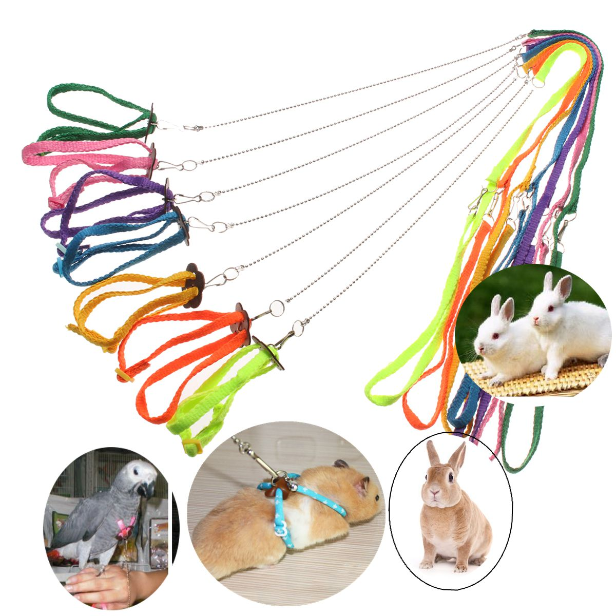 Adjustable-Ferret-Harness-Baby-Animal-Rabbit-Hamster-Rat-Mouse-Leash-Lead-Bell Adjustable-Ferret-H