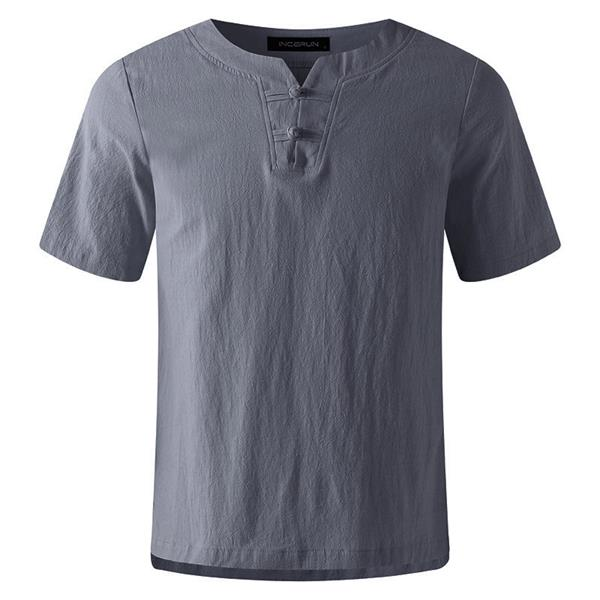 Men's Casual Cotton Linen Crew Neck Vintage T-shirt