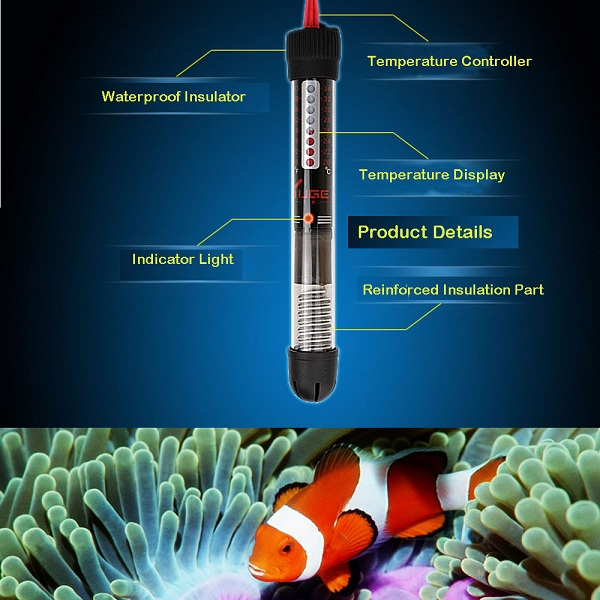 25/50/100/200W Aquarium Heater Submersible Fish Tank Water Heater Thermometer
