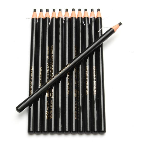 12pcs Eye Brow Eyebrow Pencil Pen Natural Black Brown Colored Cosmetic Makeup Set Kit