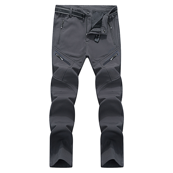 Winter Men's Plus Cashmere Warm Outdoor Soft Shell Trousers Waterproof Elasticity Punch Ski Pants