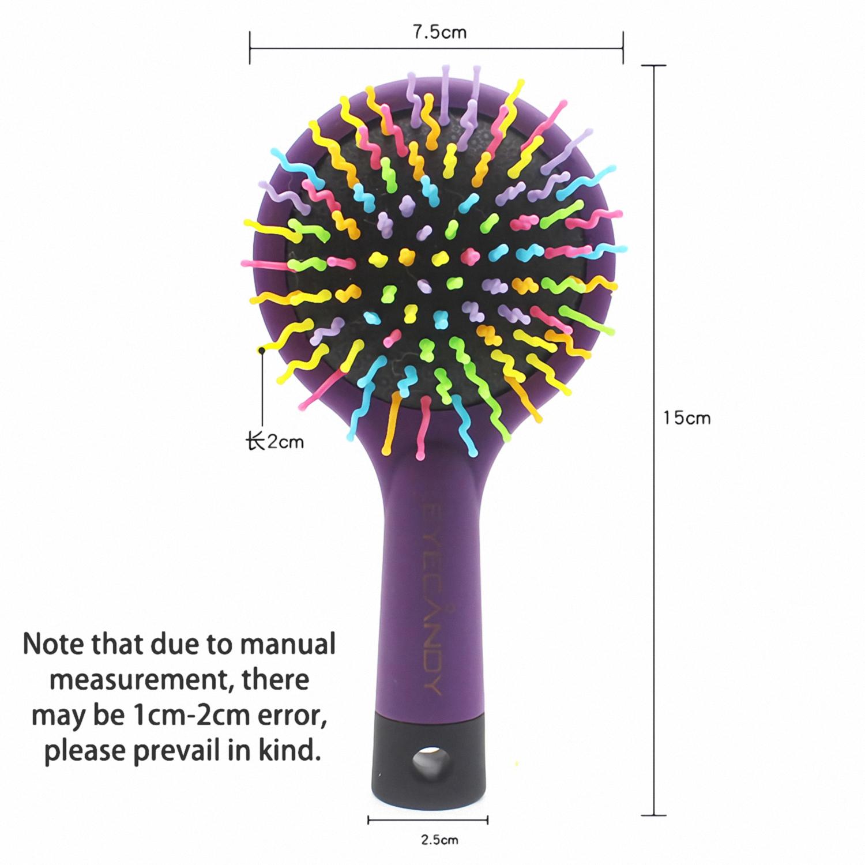 Hair Brush Rainbow Volume Brush Magic Hair Curl Straight Comb Brush with Mirror Pet Hair Comb
