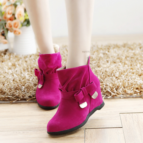 Pure Color Bowknot Slip On Increasing Heel Ankle Short Boots