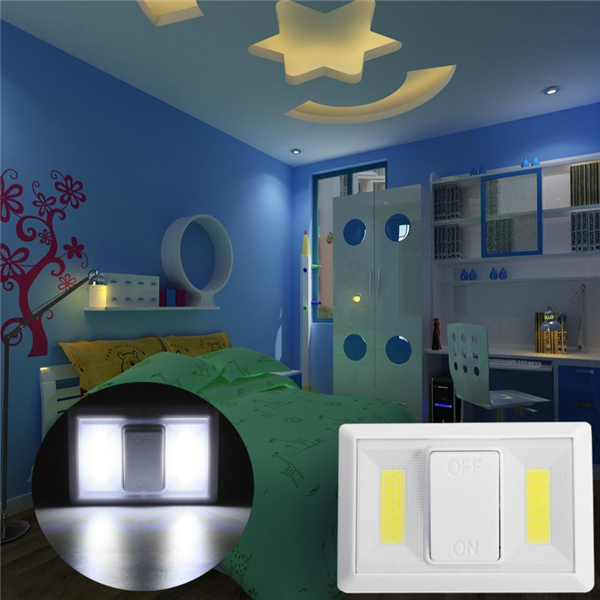 Battery Operated Wireless COB LED Night Light Super Bright Switch Lamp for Cabinet Closet Garage