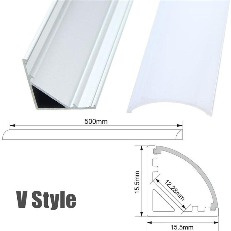 1X 5X 10X LUSTREON 50CM Aluminum Channel Holder For LED Strip Light Bar Under Cabinet Lamp