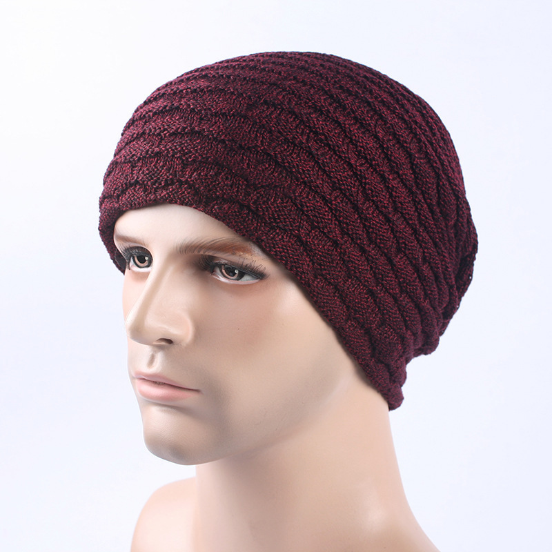 Men Women Stripe Knitted Thicker Warm Beanie Cap