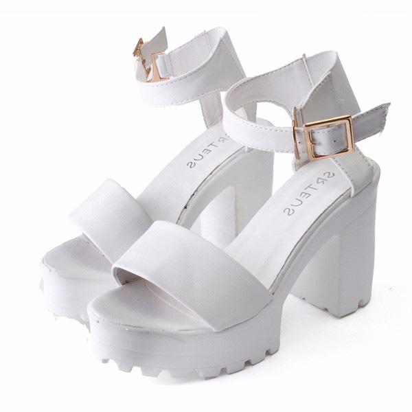Women Ankle Strap Pumps Sandals Soft Sole Platform Chunky High Heels Shoes