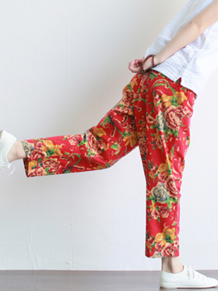 Women Retro High Waist Chinese Style Floral Print Pants