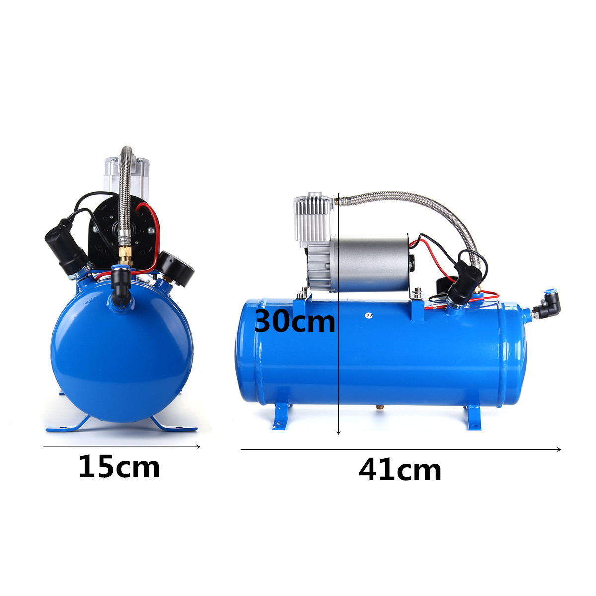Car Truck Train 6 Liter Tank Air Compressor 4-Trumpet Horn Kit 150PSI 150DB 12V