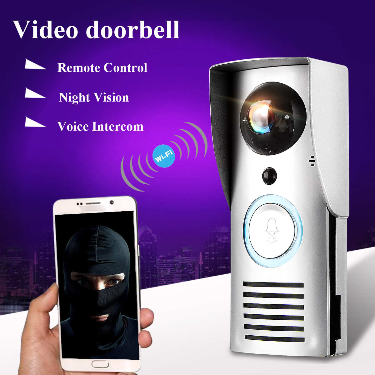 1280x720P Wifi Wireless Night Vision Video Doorbell Motion Detection Alarm Visible Monitor