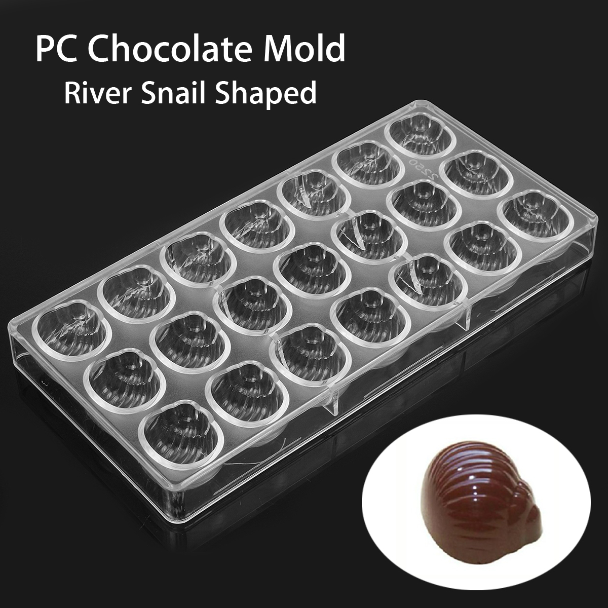 Clear River Snail Shaped PC Chocolate Mold Candy Pudding Mould Tray DIY Baking Tool
