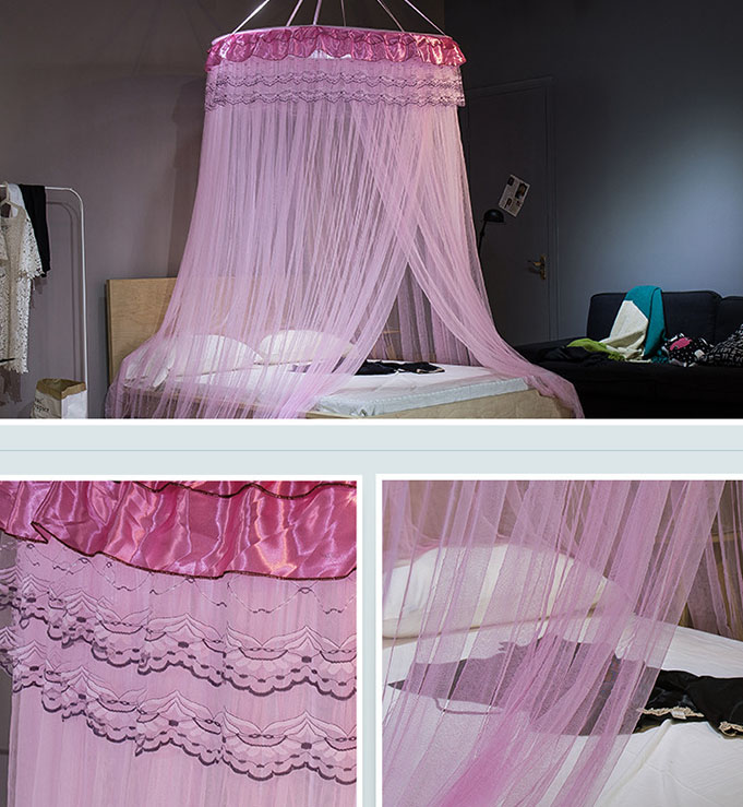 Mosquito Net Bed Canopy Hung Dome Princess Lace Round Tent Netting Curtains Home Bedding Room