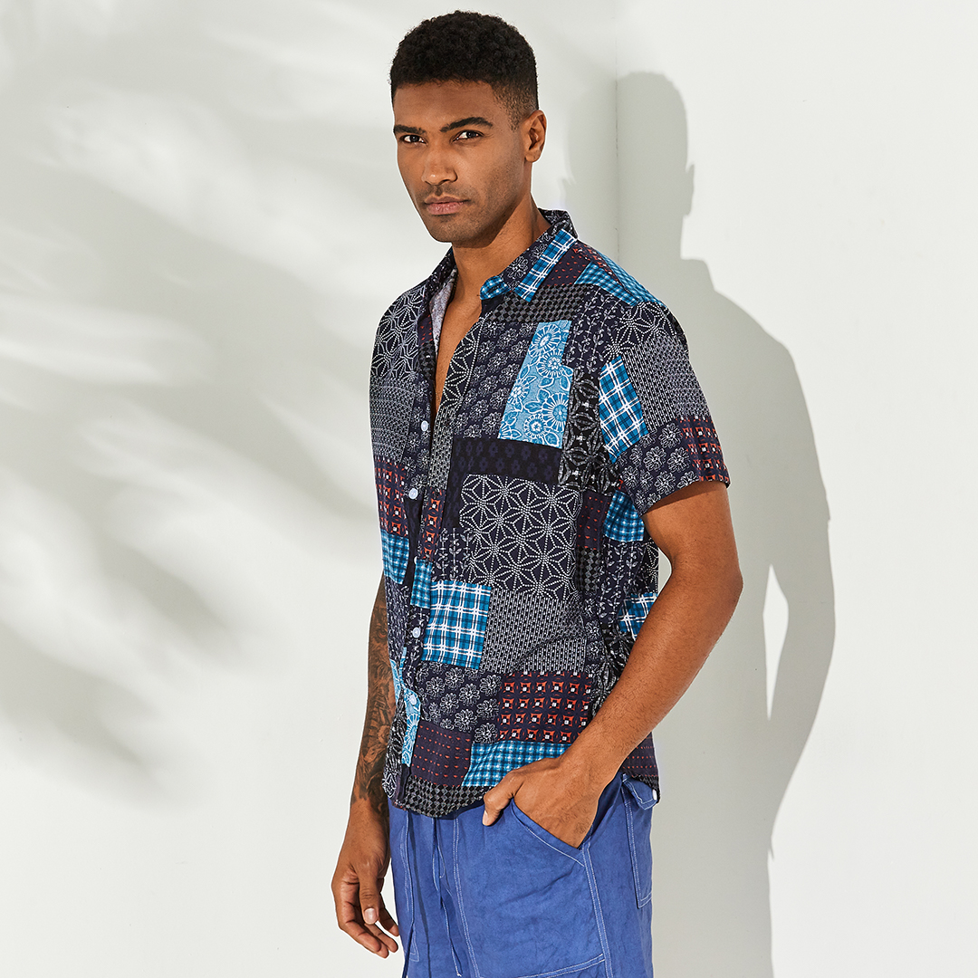 Mens Patchwork Printing Patchwork Summer Casual Shirts