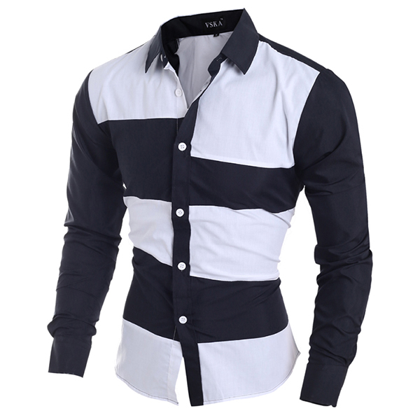Fashion Irregular Stitching Bars Splicing Color Long Sleeve Slim Design Shirts for Men