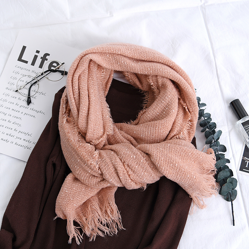 Men Women Winter Cashmere-Like Starry Fringed Couples Scarf