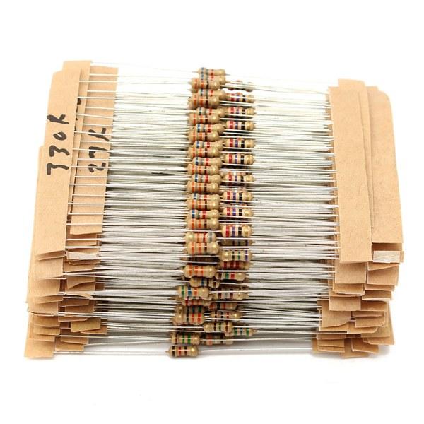 560 Pcs 1 ohm to 10M ohm 1/4W 1% Metal Film Resistor 56 Value Assorted Kit