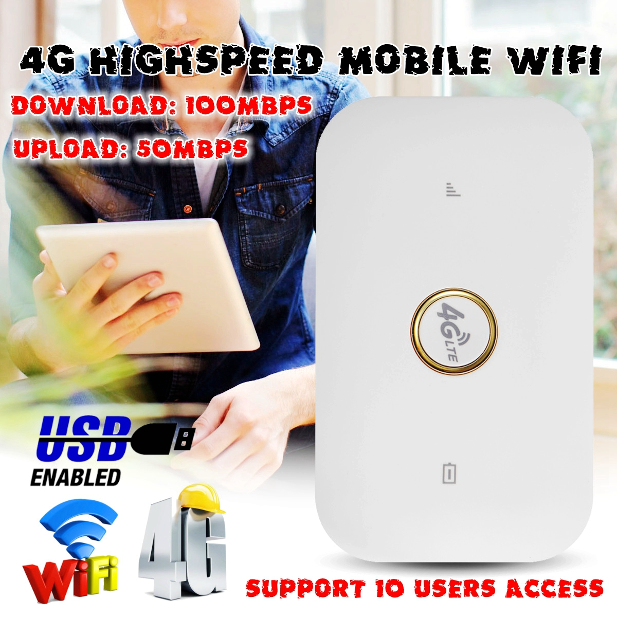 Portable 4G Router High Speed Mobile Wireless Wifi Hotspot SIM Card B1/B2/B5/B8 FDD-LTE TDD-LTE